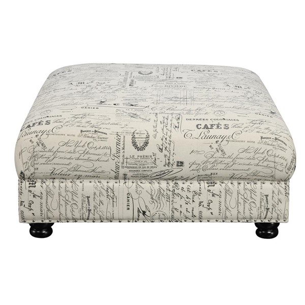 Picket House Twine Natural Fabric Ottoman with French Script Pattern PKT-UTW636000