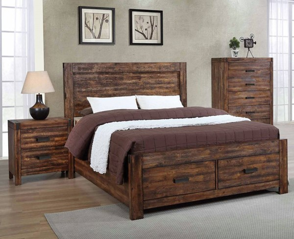 Picket House Wren Chestnut 2pc Bedroom Set with King Platform Storage Bed PKT-WN100-BR-S4