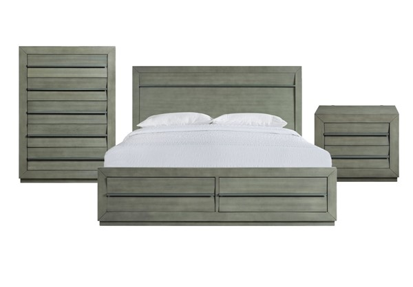 Picket House Cosmo Grey 3pc Bedroom Set with King Storage Bed PKT-B-25263-KSB-3PC