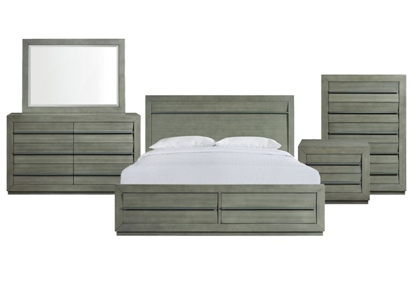 Picket House Cosmo Grey 5pc Bedroom Set with King Storage Bed PKT-B-25263-KSB-5PC