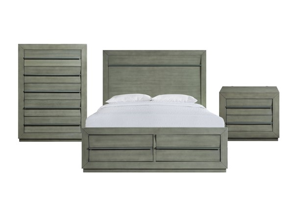 Picket House Cosmo Grey 3pc Bedroom Set with Queen Storage Bed PKT-B-25263-QSB-3PC