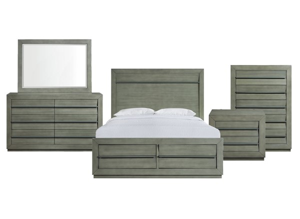 Picket House Cosmo Grey 5pc Bedroom Set with Queen Storage Bed PKT-B-25263-QSB-5PC