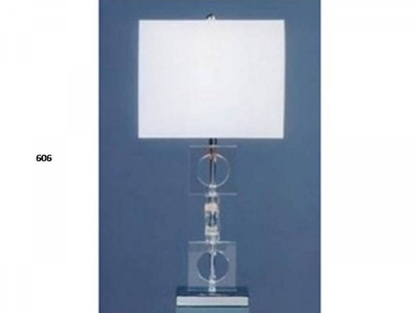 Crystal Metal Shade Rectangle Table Lamp PL-606