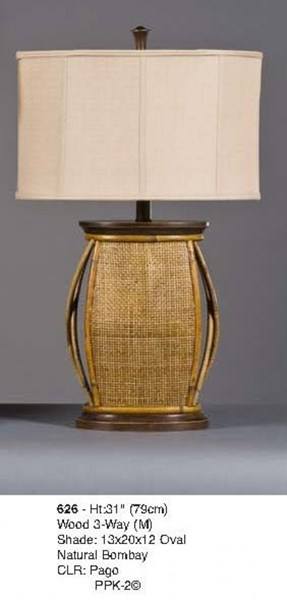 Brooklyn Wood Pago Octagon Table Lamp W/3 Way Switch PL-626