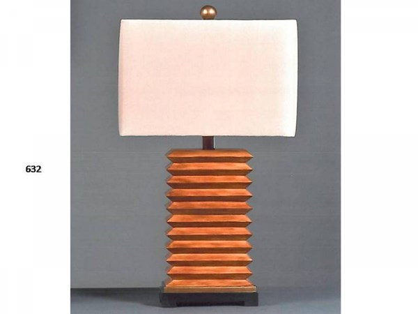 Brooklyn Resin Aged Pecan Glass Shade Table Lamp PL-632