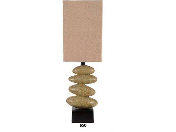 Brooklyn Resin Fossil Stone Glass Shade Table Lamp PL-650
