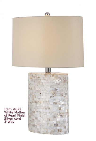 Mother Pearl Oval 3 Way Switch Table Lamp PL-672