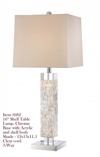Brooklyn Mother Pearl Table Lamp W/3 Way Switch PL-682