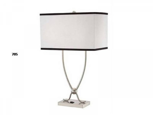 Brooklyn Brushed Steel Rectangle Table Lamp PL-705