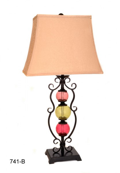 Color Glass Ball Steel Frame Square Table Lamp PL-741B