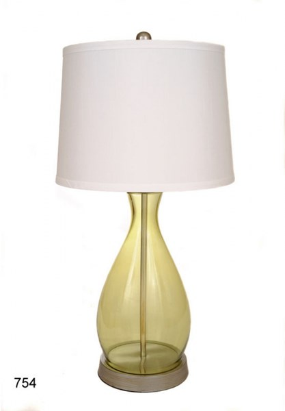 Brooklyn Green Glass Shade Drum Table Lamp PL-754