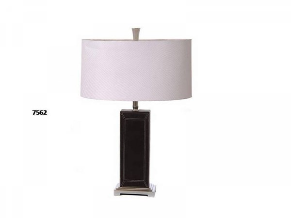 Brooklyn Lamps Leather/Metal Grey Chrome Lamp PL-7562