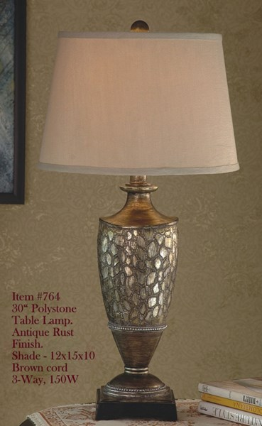 Antique Rust Polystone Glass Shade Table Lamp PL-764