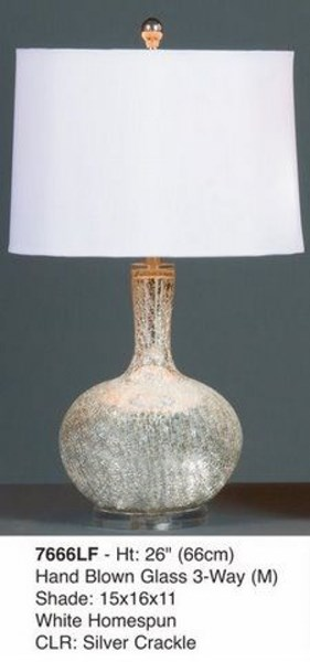 Brooklyn Lamps Hand Blown Glass Dilver Crackle Lamp PL-7666