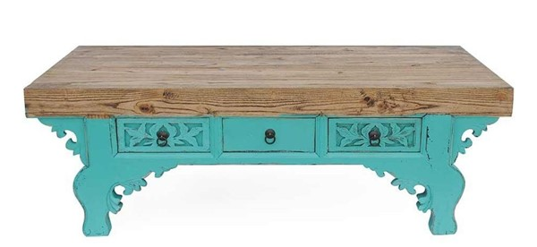 Primitive Collections Azan Teal Wood Coffee Table PMT-PCUB02410