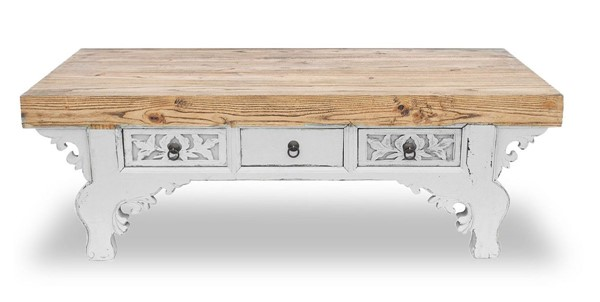 Primitive Collections Azan White Wood Coffee Table PMT-PCUB024W10