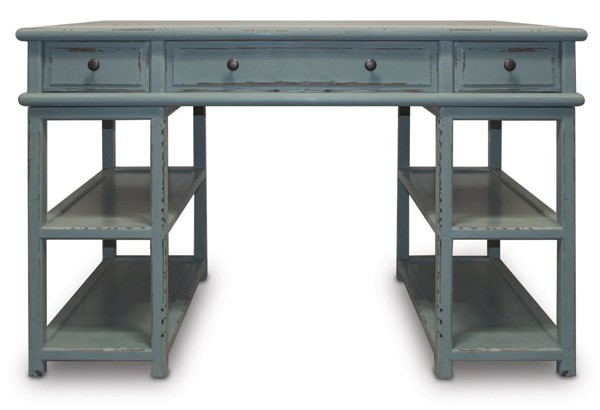 Primitive Collections Casita Modern Sea Blue Wood Desk PMT-PCCF002SEABLUE10