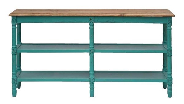 Primitive Collections Emerald Bay Turquoise Wood Console Table PMT-PC20120902610