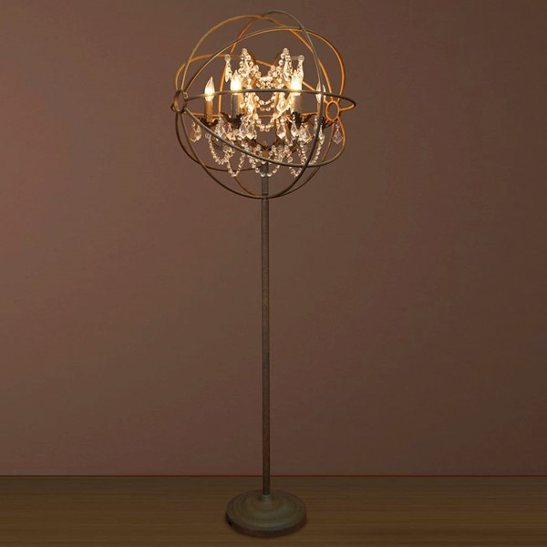 Primitive Collections Iron and Crystal 6 Light Floor Lamp PMT-PC664701FL10