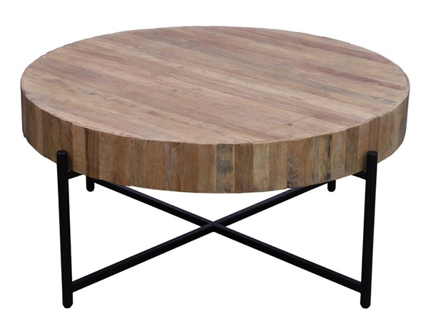 Primitive Collections Fireside Black Metal Round Coffee Table PMT-PCCT191001L10