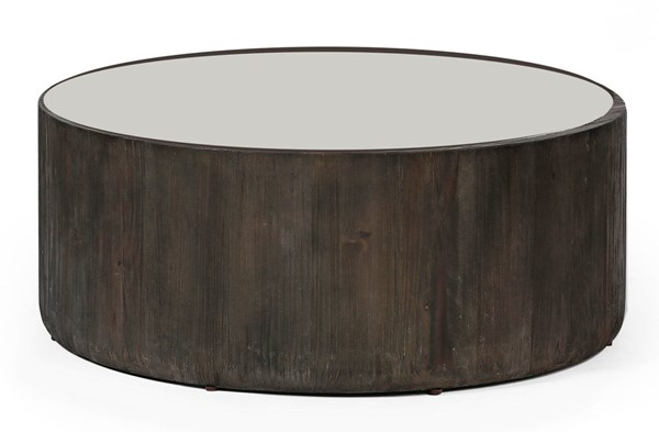 Primitive Collections Oreo Soft Gray Wood Round Coffee Table PMT-PCKFB0012610