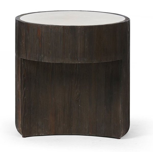 Primitive Collections Oreo Soft Gray Wood Round End Table PMT-PCKFB0012710