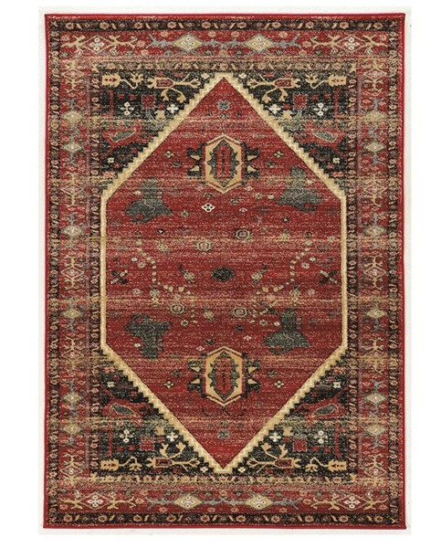 Primitive Collections Hexagon Red Black Small Rug PMT-PCRUGSE025810