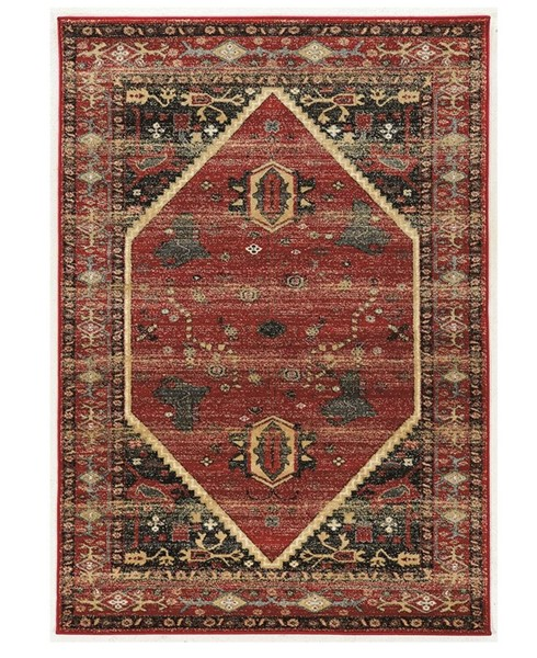 Primitive Collections Hexagon Red Black Large Rug PMT-PCRUGSE028110