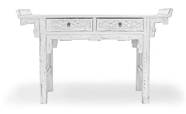 Primitive Collections Pagota White Hand Carved Wood Table PMT-PCCFO22WHITE7010