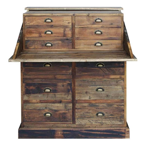 Primitive Collections Salvaged Pine Wood Secretary Chest PMT-PCIMG50010