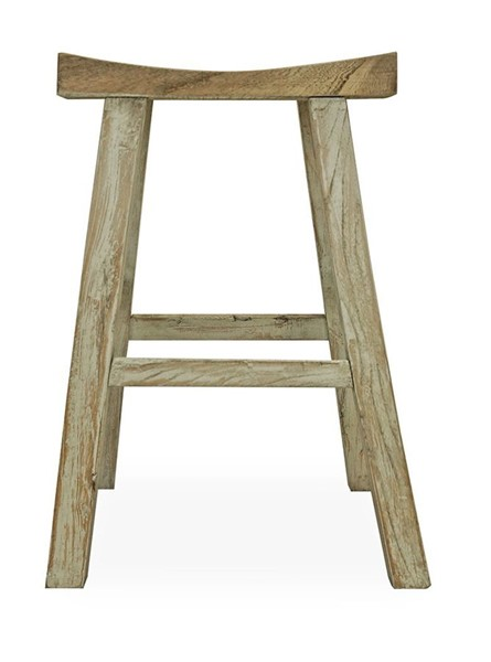 Primitive Collections Tibetan Olive Gray Wood Counter Stool PMT-PC77010
