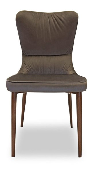 2 Primitive Collections Medium Brown Velvet Pleated Dining Chairs PMT-PCDC21310