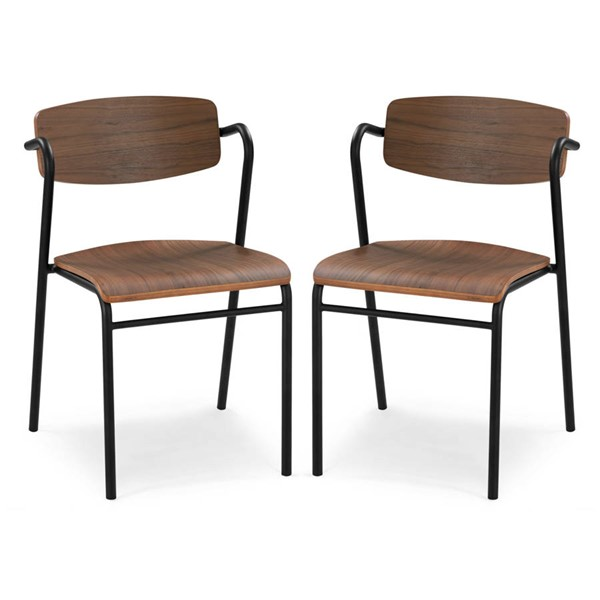 2 Poly and Bark Everly Walnut Dining Chairs PNB-PB-DI-504-WAL-X2