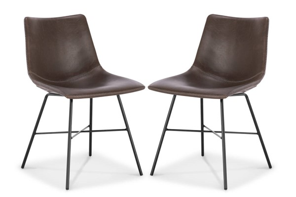 2 Poly and Bark Paxton Brown Dining Chairs PNB-PB-DI-C457-02-X2
