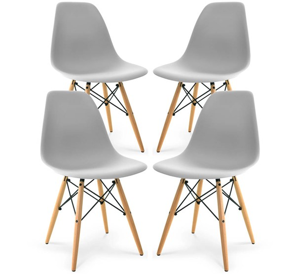 4 Poly and Bark Vortex Harbor Grey Side Chairs with Natural Legs PNB-PB-105-NAT-HRGY-X4