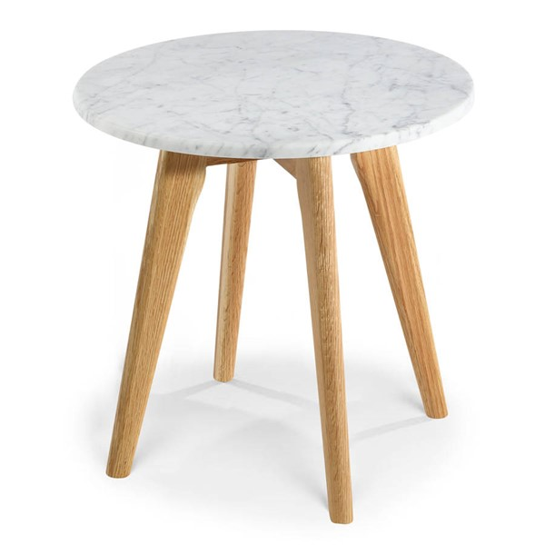 Poly and Bark Riley Natural Marble Top  Round Side Table PNB-PB-336-NAT