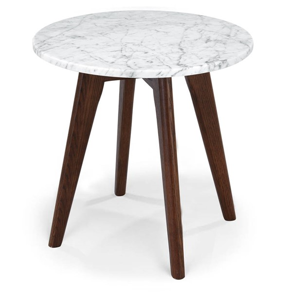 Poly and Bark Riley Walnut Marble Top Round Side Table PNB-PB-336-WAL