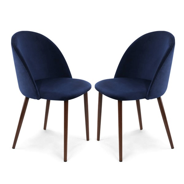 2 Poly and Bark Sedona Space Blue Velvet Dining Chairs PNB-PB-373-BLU-WAL-X2