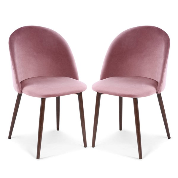 2 Poly and Bark Sedona Dusty Rose Velvet Dining Chairs PNB-PB-373-RSE-WAL-X2