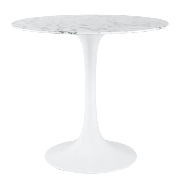 Poly and Bark Daisy White 40 Inch Artificial Marble Top Dining Table PNB-PB-384-WHI