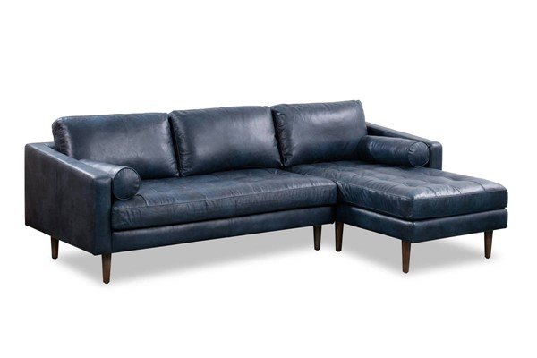 Poly and Bark Napa Midnight Blue Right Sectional Sofa PNB-PB-389-RS-BLU