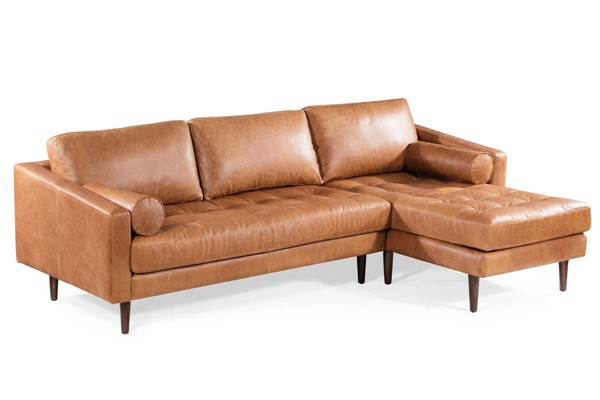 Poly and Bark Napa Cognac Tan Right Sectional Sofa PNB-PB-389-RS-TAN