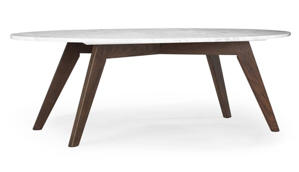 Poly and Bark Riley Walnut Marble Top Oval Coffee Table PNB-PB-LR-493-WAL