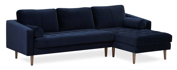 Poly and Bark Napa Navy Velvet Right Sectional Sofa PNB-PB-LR-565-RS-2