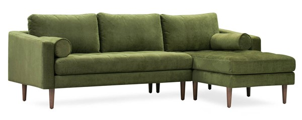 Poly and Bark Napa Distressed Green Velvet Right Sectional Sofa PNB-PB-LR-565-RS-3