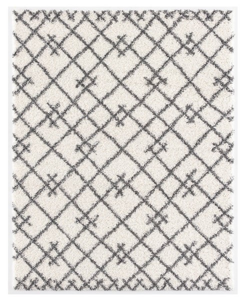 Poly and Bark Delilah White Geometric Shag Area Rug (60 X 96) PNB-PB-R-101-0508-WHI