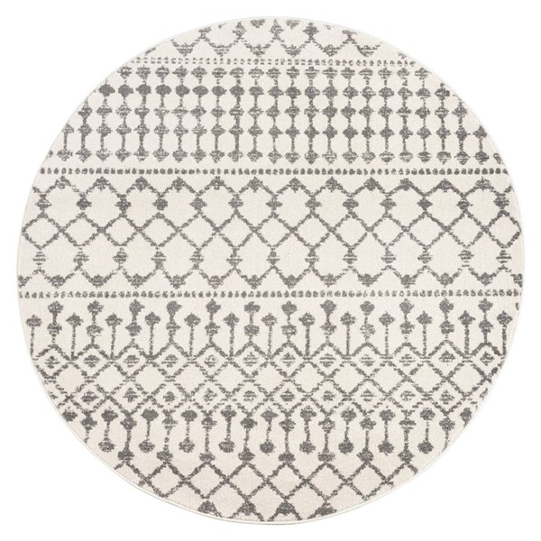 Poly and Bark Rabat Antique Ivory Geometric Lattice Round Area Rug (72 X 72) PNB-PB-R-128-RD06-CRM