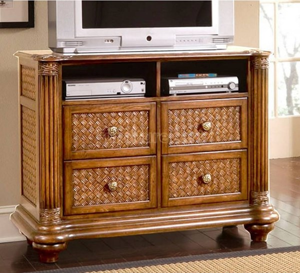 Palm Court Tropical Island Pine Wood MDF Rattan Media Chest PRG-1416-40