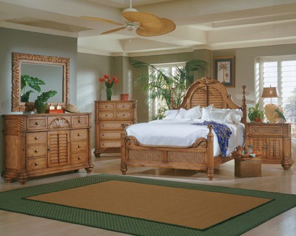Palm Court Pine Wood Mdf Rattan 2pc Bedroom Set W King Low Post Bed The Classy Home