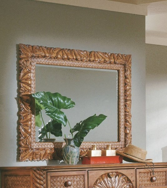 Palm Court Tropical Pine Wood MDF Rattan Carved Landscape Mirror PRG-1416-50